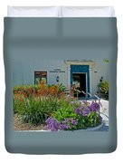 Flowers In Front Of Napier Common Room At Pilgrim Place In Claremont-california Duvet Cover