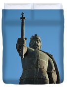 Front View Of King Afonso The Third Statue. Portugal Duvet Cover