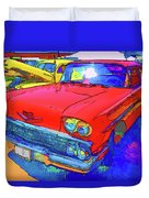 Front View Of Red Retro Car  Duvet Cover