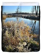 Frost Along Nippersink Creek In Glacial Park At Sunrise Duvet Cover