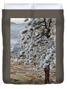 Frost-covered Pine Duvet Cover