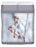 Frost On Pine Cones Duvet Cover