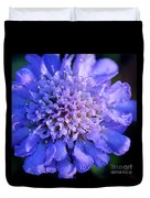 Frosted Blue Pincushion Flower Duvet Cover