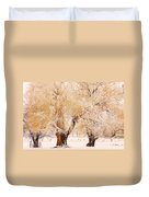Frosted Golden Trees Duvet Cover