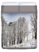 Frosty Aspen Trees Duvet Cover