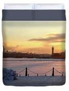 Frosty Evening In The City On The River Duvet Cover