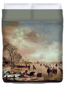 Frozen Canal Scene  Duvet Cover by Aert van der Neer