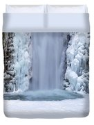 Frozen Multnomah Falls Closeup Duvet Cover