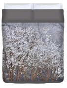 Frozen Trees During Winter Storm Duvet Cover