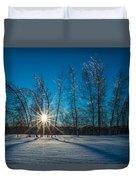 Frozen Trees Under A Winter Sunset Duvet Cover