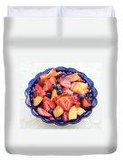 Fruit Salad In Blue Bowl Duvet Cover by Carol Groenen