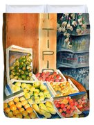 Fruit Shop In San Gimignano Duvet Cover