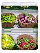 Fruits And Vegetables On A Supermarket Shelf Duvet Cover