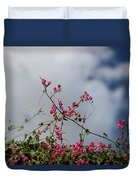 Fuchsia Mexican Coral Vine On White Clouds Duvet Cover