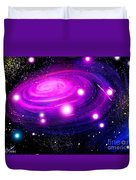 Fuchsia Pink Galaxy, Bright Stars Duvet Cover