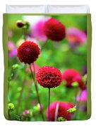 Full Bloom Reds Duvet Cover