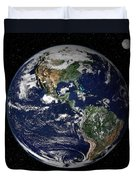 Full Earth Showing North And South Duvet Cover by Stocktrek Images