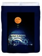 Full Moon Directly Over The Magnificent St. Sava Temple In Belgrade Duvet Cover