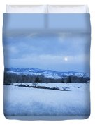 Full Moon Over A Field Of Snow Duvet Cover