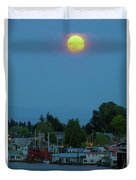 Full Moon Over Floating Homes On Columbia River Duvet Cover