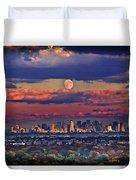Full Moon Over New York City In October Duvet Cover