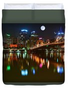 Full Moon Over Pittsburgh Duvet Cover