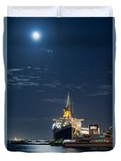 Full Moon Over Queen Mary Duvet Cover