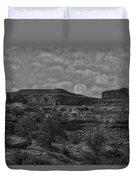 Full Moon Over Red Cliffs Bw Duvet Cover