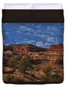 Full Moon Over Red Cliffs Duvet Cover
