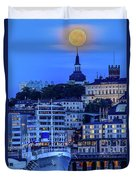 Full Moon Over The Katarina Church And Sodermalm In Stockholm Duvet Cover