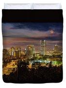 Full Moon Rising Over Downtown Portland Duvet Cover