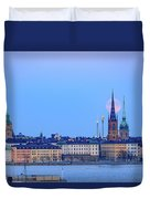 Full Moon Rising Over Gamla Stan Churches In Stockholm Duvet Cover