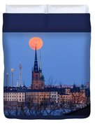 Full Moon Rising Over Gamla Stan In Stockholm Duvet Cover