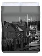 Full Moon Rising Over Motif  Number 1 Rockport Ma Black And White Duvet Cover
