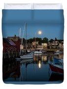 Full Moon Rising Over Motif  Number 1 Rockport Ma Moonrise Duvet Cover