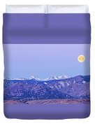 Full Moon Setting Over The Colorado Rocky Mountains Duvet Cover