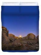 Full Moonrise At City Of Rocks State Duvet Cover