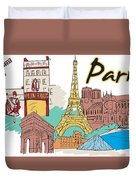 Fun Food And Folly In Paris Duvet Cover