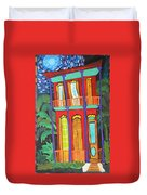 Funky Red House In New Orleans Duvet Cover