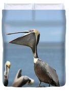 Funny Brown Pelican Duvet Cover