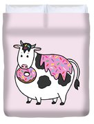 Funny Fat Holstein Cow Sprinkle Doughnut Duvet Cover