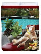 Funny Pet  Vacationing Kitty Duvet Cover