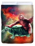 Funny Space Sloth Riding On Turtle Duvet Cover