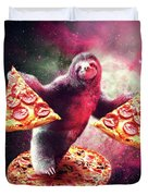 Funny Space Sloth With Pizza Duvet Cover