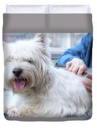 Funny View Of The Trimming Of West Highland White Terrier Dog Duvet Cover