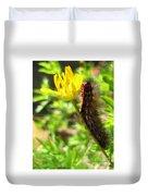 Furry Caterpillar On A Yellow Flower Duvet Cover