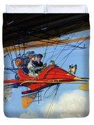 Futuristic Air Travel Vintage Poster Duvet Cover