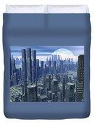 Futuristic City - 3d Render Duvet Cover