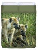Fuzzy Baby Hyenas Duvet Cover
