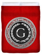 G - Silver Vintage Monogram On Red Leather Duvet Cover
